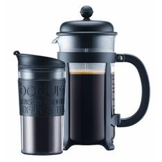 Cafetière à Piston Bodum Java Noire 1L + Travel Mug Bodum noir 35 cl