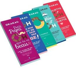 Pack de 5 tablettes de chocolat au lait (fleur de sel et gianduja) - 5x100g - Okakao