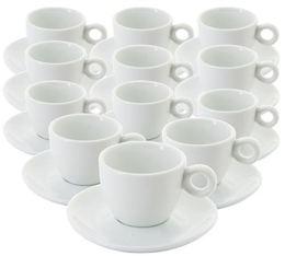 Tasses et sous tasses blanches - 6.5 cl X 12