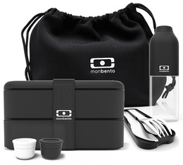Monbento black Lunchbox pack : lunchbox, bottle, cutlery, sauce cups & bag