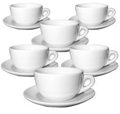Ancap Set of 6 Porcelain Verona Caffe Latte Cups and Saucers - 36cl