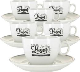 6 tasses cappuccino et sous-tasses porcelaine - 17.5 cl - Cafés Lugat