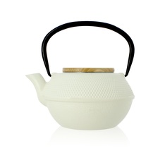 OGO Living 1.2L White cast iron teapot with infuser & wooden lid + Free tea