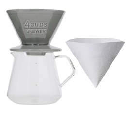 Kit Dripper SCS-04-BR gris + Carafe Kinto verre 600ml - Slow Coffee Style - Kinto