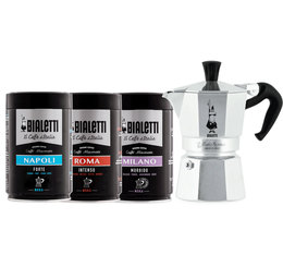 Bialetti Moka Express (6 cups) + 3 packs of ground coffee