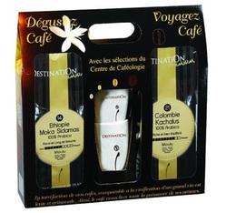 Coffret Prestige Destination - Café moulu bio pour filtre x 2x250g (+2 tasses et sous tasses)