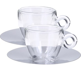 2 tasses piattino en verre double paroi sous tasse inox. Black Bedroom Furniture Sets. Home Design Ideas