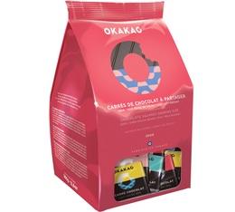 Assortiment de 90 carrés de chocolat - Noir 70%, noir/fèves de cacao, lait 33%, lait nougat - 360g - Okakao