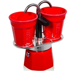 Cafetière italienne Mini express Bialetti 2 tasses + 2 bicchierini rouge