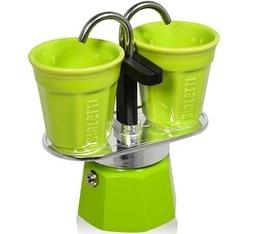 Cafetière italienne Bialetti Mini express 2 tasses + 2 bicchierini vert