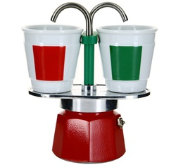 Bialetti Mini Express 2-cup espresso maker + 2 Italian colours cups