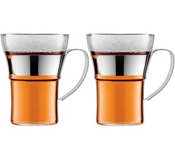 2x35cl Assam cappuccino/tea/coffee glass mugs with stainless steel handle by Bodum