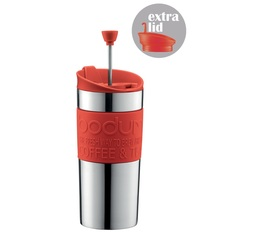 Mug isotherme inox Travel Press 35 cl rouge - 2 couvercles (Piston & Clapet) - Bodum