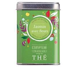 Thé vert en vrac boîte métal 'Thé au Jasmin avec fleurs' - Comptoir Français du Thé - 100g