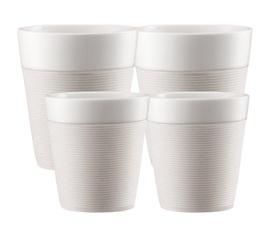 Lot de 4 tasses Bistro en porcelaine avec bande silicone blanche (17cl + 30cl) - Bodum