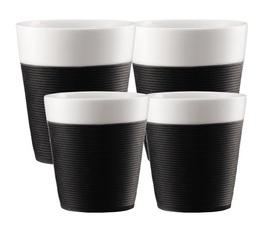 Lot de 4 tasses Bistro en porcelaine avec bande silicone noire (17cl + 30cl) - Bodum