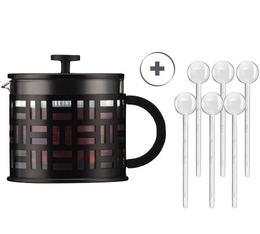 Théière à Piston Eileen Tea Press 1.5l noire + 6 cuillères à café transparentes - Bodum