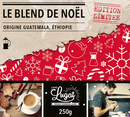 Café moulu pour cafetière à piston : Le Blend de Noël (Mélange Gourmand) - 250g - Cafés Lugat