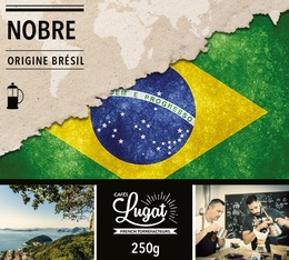 Café moulu bio pour cafetière piston : Brésil - Nobre - 250g - Cafés Lugat