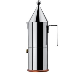 Alessi La Conica moka pot 300ml designed by Aldo Rossi + Free Illy coffee