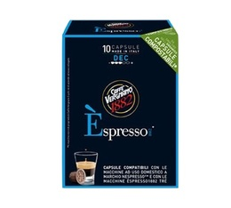 10x Biodegradable Espresso Decaf capsules for Nespresso by Caffè Vergnano