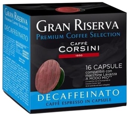Capsules Gran Riserva Decaffeinato x16 - Caffè Corsini pour Lavazza a Modo Mio
