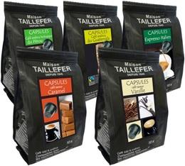 Pack découverte - Cafés aromatisés/Cafés Natures - Maison Taillefer - 50 capsules pour Nespresso