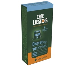 x10 Discret Natural Decaf capsules by Café Liégeois compatible with Nespresso® machines