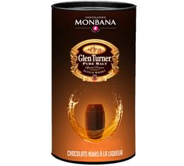 Boîte de 25 chocolats noirs à la liqueur de Whisky Glen Turner - Monbana
