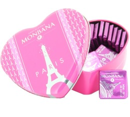 Monbana Heart Gift Box with Chocolate Squares - 100g