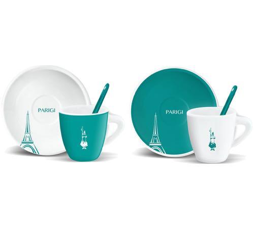2 tasses espresso + sous tasses + cuillères Paris turquoise - Bialetti