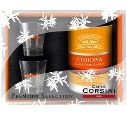 Coffret Corsini : 1 boîte de café moulu Ethiopie 125g + 2 verres expresso