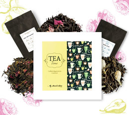 Coffret Tea Time : Composition Florale - 6 x 50 g de thé en vrac