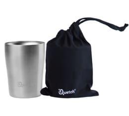 Cup isotherme double paroi inox avec poche de transport en coton bio noire 250ml - Qwetch