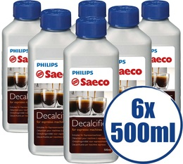 Lot de 6 Détartrants Saeco CA6700/00 Grand Format pour machine saeco - 500 ml