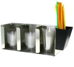 Distributeur de couvercles à 3 compartiments + porte-pailles