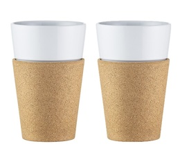Bodum 2 Bistro Porcelain Cups with Cork Sleeves - 17 cl