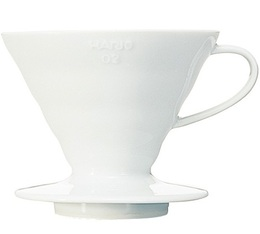 Dripper Hario V60 VDC-02 conique blanc 4 tasses