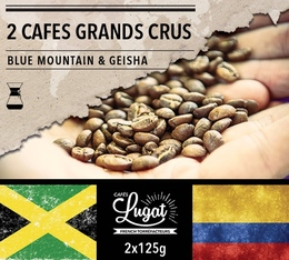 Lot de 2 cafés Grands Crus (mouture hario/chemex) : Geisha/Blue Mountain - 2x125g - Cafés Lugat