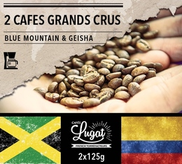 Lot de 2 cafés Grands Crus (mouture filtre) : Geisha/Blue Mountain - 2x125g - Cafés Lugat