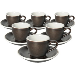 6 Tasses Espresso et sous-tasses Egg 8cl Gunpowder - Loveramics