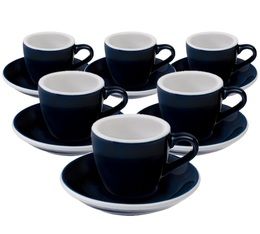 6 Tasses Espresso et sous-tasses Egg 8cl Denim - Loveramics