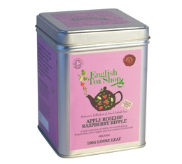 Boite Métal Infusion Pomme Framboise Baie d'Églantier - Apple Rosehip Rasberry Ripple - 100g - English Tea Shop