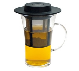 28cl glass mug with handle + removable tea filter - Finum