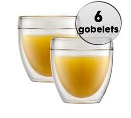 6 Gobelets double paroi Pavina plastique 25cl- Bodum