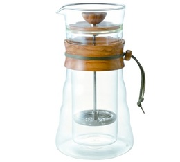 Hario double wall French Press with olive wood + 250g ground coffee offered