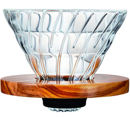 Hario V60 4-cup Coffee Dripper VDG-02 - clear/olive wood