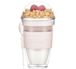 Bodum Joycup Granola Plastic Double Wall Cup with Spoon Strawberry - 30cl