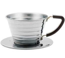2-Cup flat-bottomed Kalita Wave Dripper 155 in stainless steel