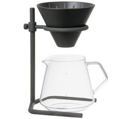 Porcelain Slow Coffee Style Speciality 4-cup dripper kit by Kinto with carafe and metal stand.